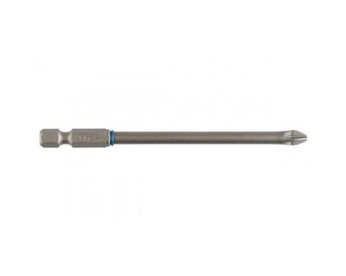 Бита ЗУБР ЭКСПЕРТ торсионная кованая, обточенная, хромомолибденовая сталь, тип хвостовика E 1/4, PZ2, 100мм, 1шт 26013-2-100-1