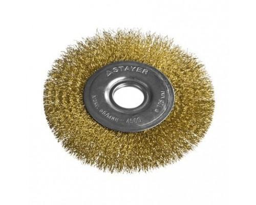 STAYER PROFESSIONAL. Щетка дисковая для УШМ, витая стальная латунированная проволока 0,3мм, 125ммх22мм 35122-125