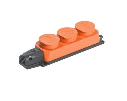 Iek PKR61-016-2-K09 РБ33-1-0м Розетка трехместная с защитными крышками ОМЕГА IP44 оранжевая