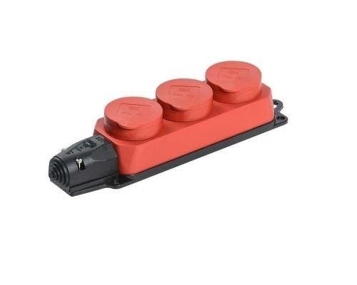 Iek PKR61-016-2-K04 РБ33-1-0м Розетка трехместная с защитными крышками ОМЕГА IP44 красная