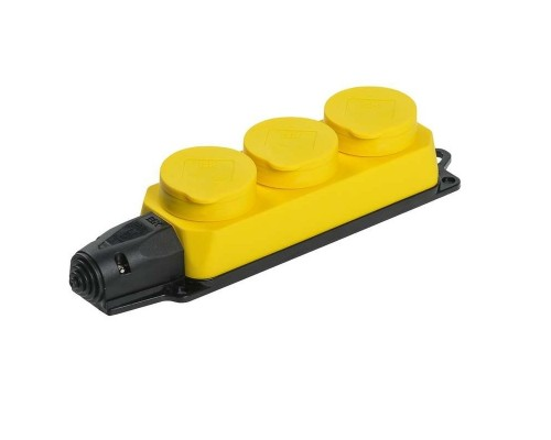 Iek PKR61-016-2-K05 РБ33-1-0м Розетка трехместная с защитными крышками ОМЕГА IP44 жёлтая