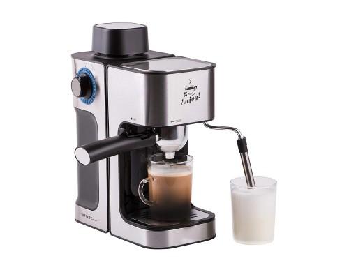 FIRST (FA-5475-2 Black-Bruched) Кофеварка Espresso , 800 Вт, 4 бар, 0.6 л, капучинатор,Black-Bruched