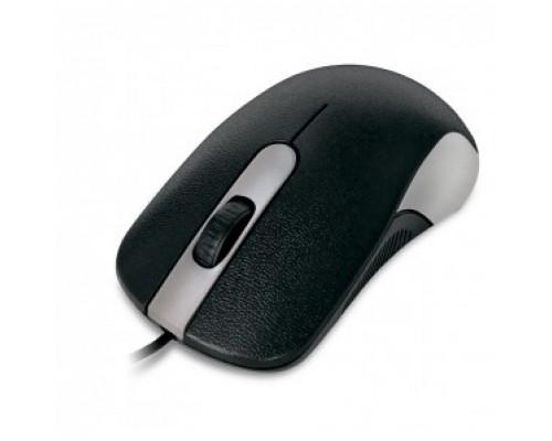 CBR CM 105 Silver, проводная, оптическая, USB, 1200 dpi, 3 кнопки и колесо прокрутки, длина кабеля 1,8 м, цвет чёрный-серебристый