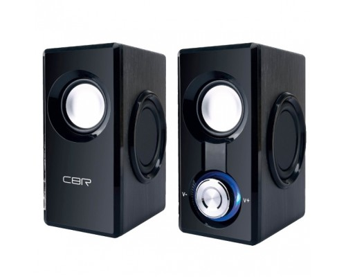 CBR CMS 504 Black, Акустическая система 2.0, питание 220 В, 2х3 Вт (6 Вт RMS), материал корпуса MDF, 3.5 мм линейный стереовход, регул. громк. (с подсветкой), длина кабеля 1,2 м, цвет чёрный