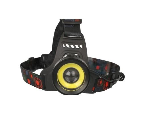 Ultraflash E1335 (фонарь налоб акк 3,7В, черный, 2LED, 4 Ватт, фокус, 2 ак 4 реж, метал, бокс)
