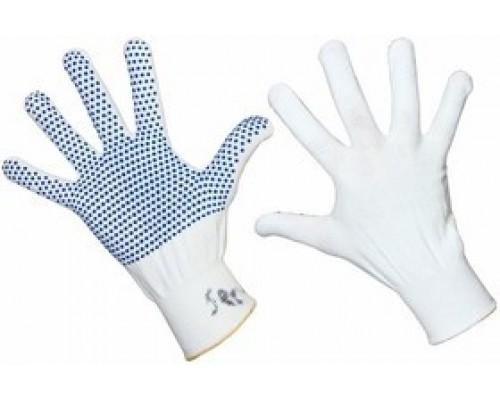 REXANT (09-0260) нейлоновые с частичным покрытием ладони и пальцев «Точка» ПВХ белые