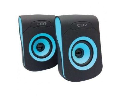 CBR CMS 366 Blue, Акустическая система 2.0, питание USB, 2х3 Вт (6 Вт RMS), материал корп. пластик, покрытие софт-тач, 3.5 мм лин. стереовход, регул. громк., длина кабеля 1,2 м, цвет чёрный-голубой