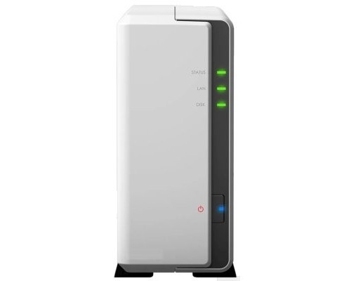 Synology DS120j Сетевое хранилище DC 800MhzCPU/ 512Mb/ up to 1HDDs/ SATA(3,5)/ 2xUSB2.0/ 1GigEth/ iSCSI/ 2xIPcam (up to 5)/ 1xPS/ 2YW
