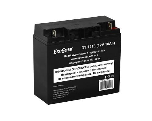 Exegate EX282969RUS Аккумуляторная батарея DT 1218 (12V 18Ah, клеммы F3 (болт М5 с гайкой))