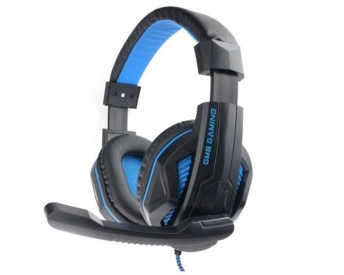 Gembird MHS-G215, код Printbar, черный/синий, регулировка громкости, кабель2м
