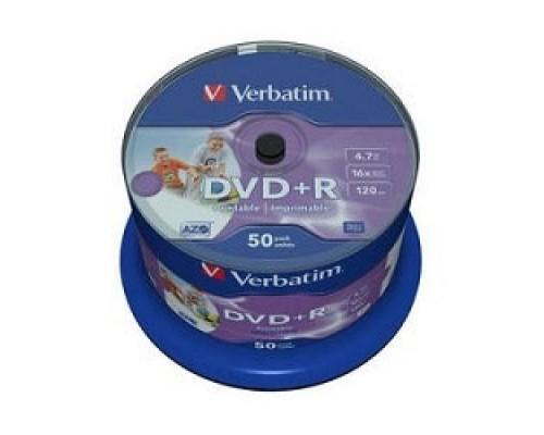 Диск Verbatim Диски DVD+R 4.7Gb 16-х, Wide Photo InkJet Printable, 50 шт, Cake Box