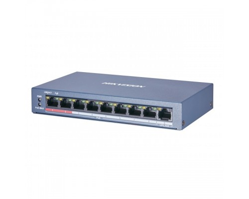 HIKVISION DS-3E0109P-E/M(B) Коммутатор 9x100Mb 8PoE+ 58W неуправляемый