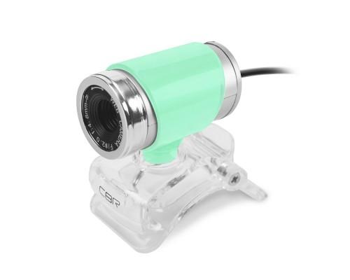 CBR CW 830M Green, Веб-камера с матрицей 0,3 МП, разрешение видео 640х480, USB 2.0, встроенный микрофон, ручная фокусировка, крепление на мониторе, длина кабеля 1,4 м, цвет зелёный