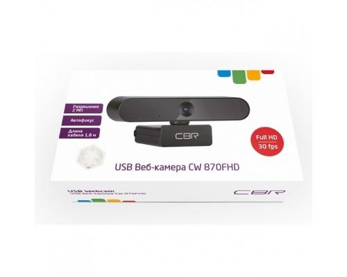 CBR CW 870FHD Black, Веб-камера с матрицей 2 МП, разрешение видео 1920х1080, USB 2.0, встроенный микрофон с шумоподавлением, автофокус, крепление на мониторе, длина кабеля 1,8 м, цвет чёрный