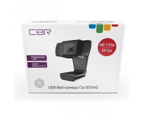 CBR CW 855HD Black, Веб-камера с матрицей 1 МП, разрешение видео 1280х720, USB 2.0, встроенный микрофон с шумоподавлением, фикс.фокус, крепление на мониторе, длина кабеля 1,4 м, цвет чёрный