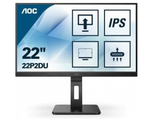LCD AOC 21.5 22P2DU Черный IPS 1920х1080 75Hz 250cd 8bit 178/178 1000:1 4ms D-Sub DVI HDMI1.4 AudioOut 2x2W 4xUSB3.2 FlickerFree Pivot Tilt Swivel VESA