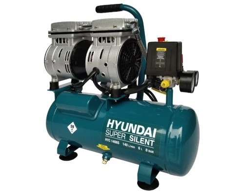 HYUNDAI HYC 1406S Компрессор поршневой, безмасляный 140 л/мин, 230 В, 1400 об/мин., ресивер 6 л, поршней 2 шт., давление 8 бар., 14 кг