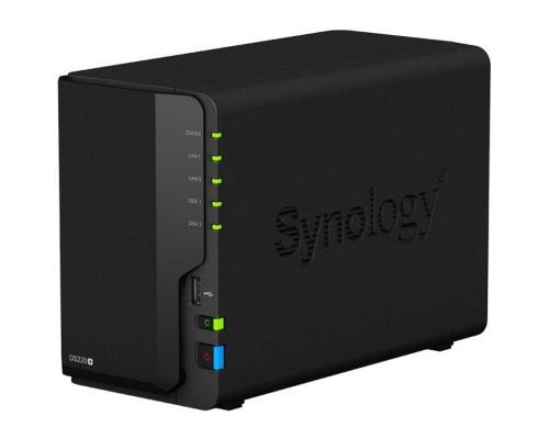 Synology DS220+ Сетевое хранилище QC2,0GhzCPU/8GbDDR4/RAID0,1,10,5,5+spare,6/upto 5hot plug HDD SATA(3,5 or 2,5)(upto15 with 2xDX517)/2xUSB3.0/ 2eSATA/4GigE/iSCSI/2xIPcam(upto40)/1xPS/3YW