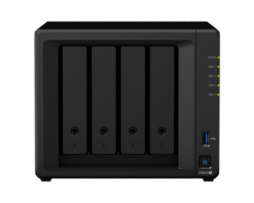 Synology DS920+ Сетевое хранилище C2GhzCPU/4Gb(upto8)/RAID0,1,10,5,6/up to 4hot plug HDDs SATA(3,5 or 2,5)(up to 9 with DX517)/2xUSB3.0/2GigEth/iSCSI/2xIPcam(up to 40)/1xPS/3YW