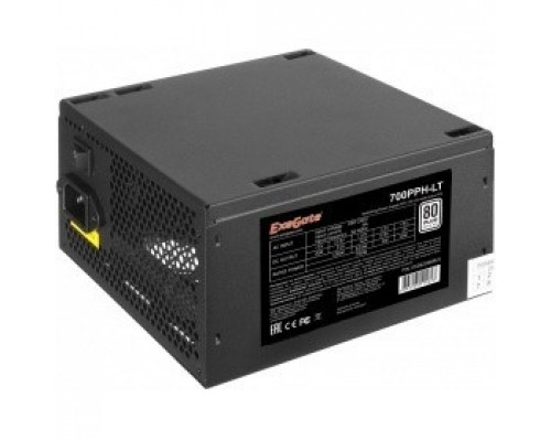 Exegate EX282048RUS-S Блок питания 700W ExeGate 700PPH-LT-S, RTL, 80+, ATX, black, APFC, 12cm, 24p, (4+4)p, 5*SATA, 3*IDE, с защитой от выдергивания