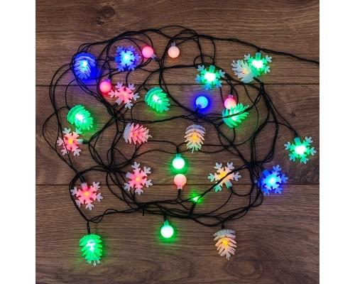NEON-NIGHT 303-064 Гирлянда светодиодная универсальная с насадками (шарики, снежинки, елочки) 30 LED МУЛЬТИКОЛОР, 4,4 метра с контроллером