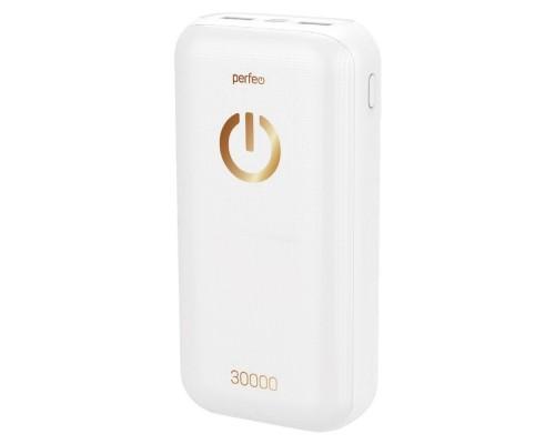 Perfeo Powerbank 30000 mah+Micro usb/In Micro usb, Type-C/Out Type-C 2.1A, USB 1 А, 2.1A/White (PF_B4301)
