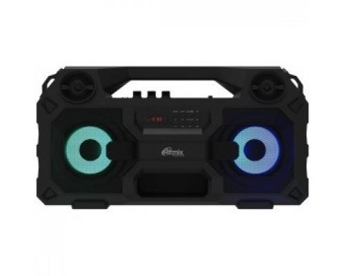 RITMIX SP-690B black Jack 6.3 мм c функцией ЭХО, дисплей: LED, эквалайзер, RGB-подсветка, до 8 часов, 2000 мАч, 7.4 В, microUSB DC 5В 2A, 46 ? 24.3 ? 17.5 см, пластик, черный