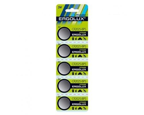 Ergolux.CR2025 BL-5 (CR2025-BP5, батарейка литиевая,3V) (5 шт. в уп-ке)