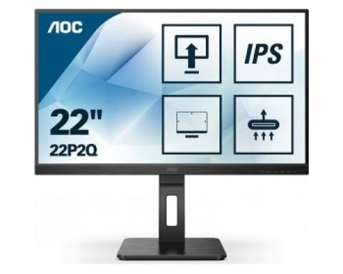 LCD AOC 21.5 22P2Q Black с поворотом экрана IPS, 1920x1080, 75Hz, 4 ms, 178°/178°, 250 cd/m, 50M:1, +DVI, +HDMI, +2xDisplayPort 1.2, +4xUSB 3.2, +MM