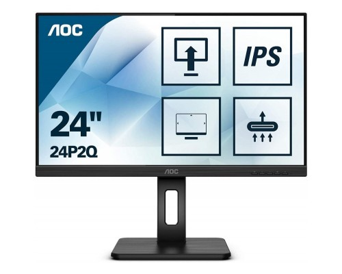 LCD AOC 24 24P2Q Black с поворотом экрана IPS, 1920x1080, 75Hz, 4 ms, 178°/178°, 250 cd/m, 50M:1, +DVI, +HDMI, +DisplayPort 1.2, +4xUSB 3.2, +MM