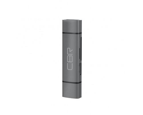 USB Type-C/USB 3.0 (2 в 1) Card reader CBR Gear, до 5 Гбит/с, microSD/T-Flash/SD/SDHC/SDXC, доп.выход USB 3.0 хаб, поддержка OTG, алюминиевый корпус