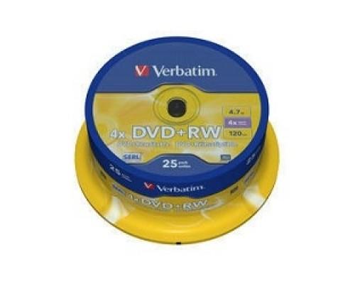 Verbatim и DVD+RW , 4.7Gb 4-х , 25шт, Cake Box (43489)