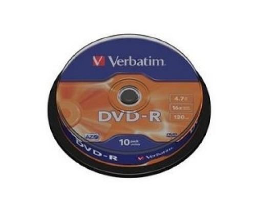 Verbatim Диски DVD-R 4.7Gb 16х, 10 шт, Cake Box (43523)