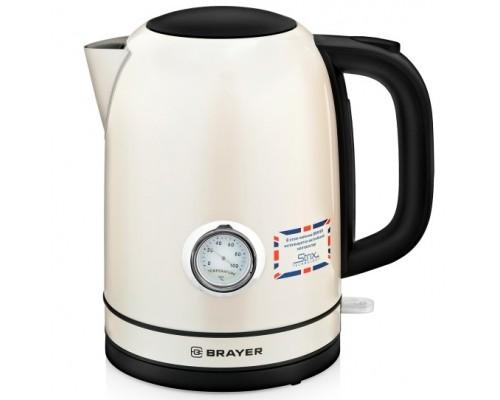 BRAYER 1005BR-YE Чайник электрический , 2200Вт, объём 1,7 л STRIX, сталь окраш, термометр,роз.