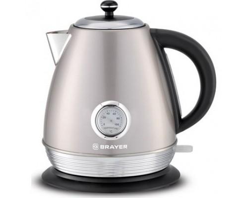 BRAYER 1007BR Чайник электрический , 2200 Вт, 1,7 л, Strix, автоотключ, нержав.сталь, встроен.термом