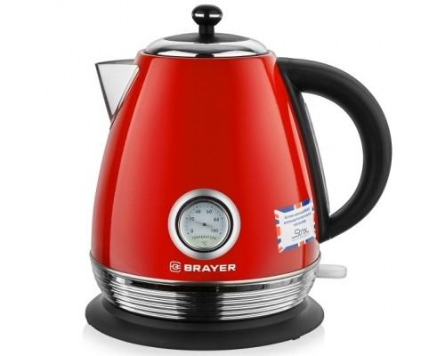 BRAYER 1007BR-RD Электрический чайник BRAYER , 2200 Вт, 1,7 л, Strix, автоотключ, нержав.сталь, встроен.терм