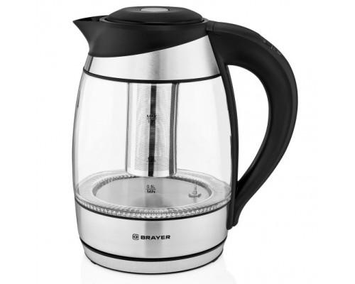 BRAYER 1021BR Чайник электрический , 2200Вт.1,7 л, стекло, подсветка, черн.