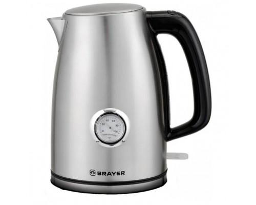 BRAYER 1022BR Чайник электрический , 2200Вт.1,7 л, STRIX, стальной, термометр.