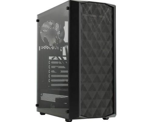 Powercase CMDM-L1 Diamond Mesh LED, Tempered Glass, 1x 120mm 5-color fan, чёрный, ATX (CMDM-L1)