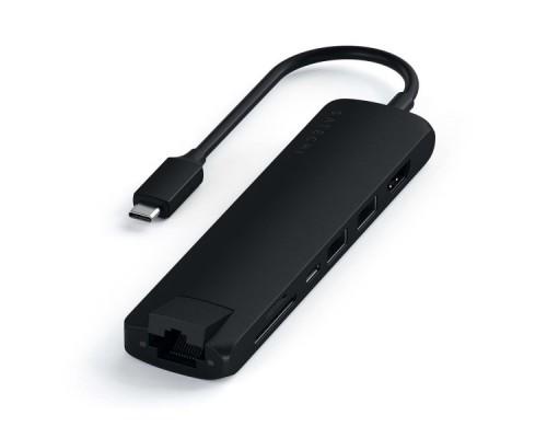 USB-C адаптер Satechi Type-C Slim Multiport with Ethernet Adapter. Цвет черный.