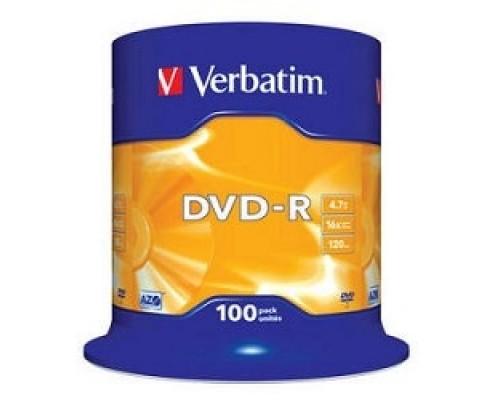 Verbatim Диски DVD-R 4.7Gb 16-х, 100 шт, Cake Box (43549)