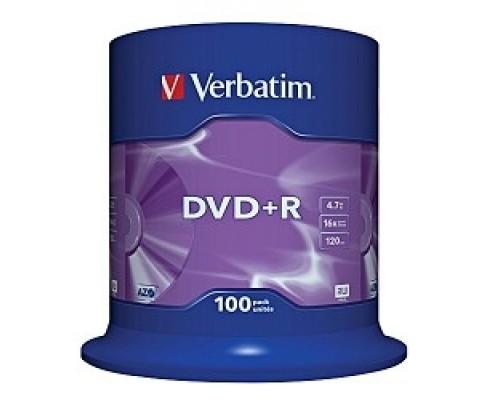 Диск Verbatim Диски DVD+R 4.7Gb 16-х, 100шт, Cake Box