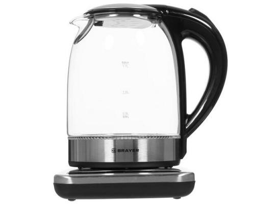 BRAYER 1003BR Чайник электрический, 2200Вт.1,7 л, стекл., подст. 40-100 °С, Под. t, подсветка, черн.