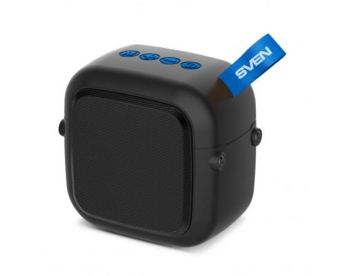 SVEN PS-48, черный акустическая система 1.0, мощность 5 Вт (RMS), TWS, Bluetooth, FM, USB, microSD, встроенный аккумулятор