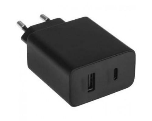 ORIENT PU-C20W, Сетевое зарядное устройство с функцией быстрой зарядки, мощность 20Вт, Quick Charge 3.0+Power Delivery, выходы: USB-A + Type-C, DC 5/9/12/15/20В, цвет черный (31126)